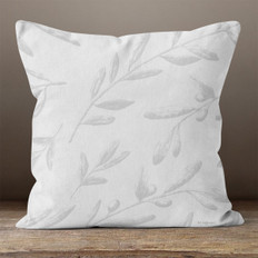 Grey Leaves and Berries Throw Pillow
