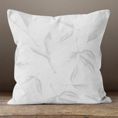 Grey Leaves Throw Pillow