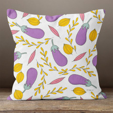 White with Eggplants Throw Pillow