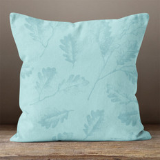 Blue Oak Leaves Throw Pillow
