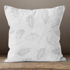 Grey Oak Leaves Throw Pillow