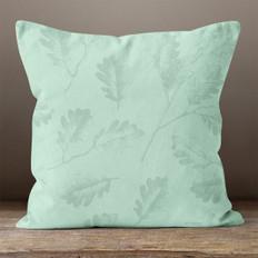 Green Oak Leaves Throw Pillow