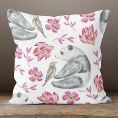 White with Flowers & Panda Throw Pillow