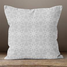 Grey, Geometric Pattern 2 Throw Pillow
