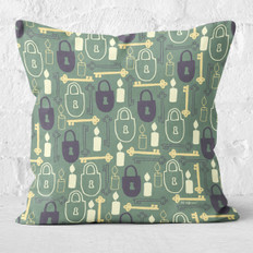 Olive Green Mystery Keys Throw Pillow