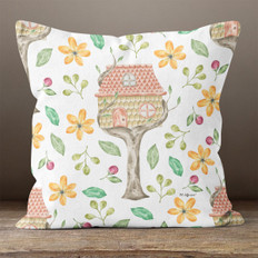 White with Tree House Throw Pillow