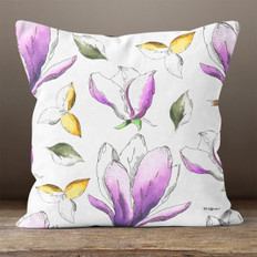 White with Purple & Yellow Botanical Watercolor Throw Pillow
