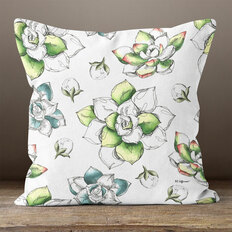 White with Green & Blue Botanical Watercolor Throw Pillow