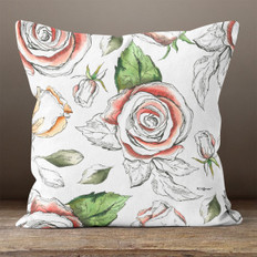 White with Watercolor Roses Throw Pillow