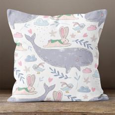 White Winter Whale Throw Pillow