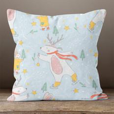 Blue Winter Polar Bear Throw Pillow