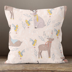 Pink Winter Deer Throw Pillow