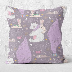 Plum Winter Polar Bear Throw Pillow