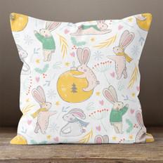 White Winter Rabbit Throw Pillow