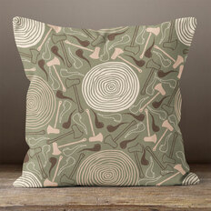 Dark Green Lumbering Jack Throw Pillow