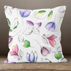 White with Multicolor Botanical Watercolor Throw Pillow