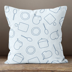 Light Blue with Cooking Tools Throw Pillow