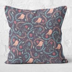 Navy Berries and Birdies Throw Pillow