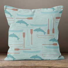 Seafoam Dolphins and Oars Throw Pillow