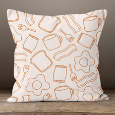 Cream with Breakfast Foods Throw Pillow