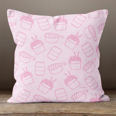Light Pink with Asian Cuisine Throw Pillow