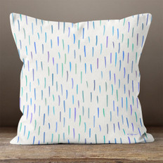 White with Multicolored Slashes Throw Pillow