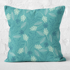 Blue Falling Leaves Throw Pillow