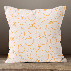Orange Cream with Fruit Throw Pillow