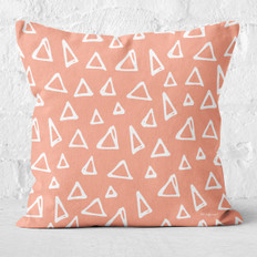 Peach with Triangles Throw Pillow