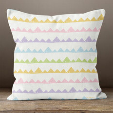 White with Pastel Mountains Throw Pillow