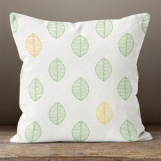 White with Leaves Throw Pillow