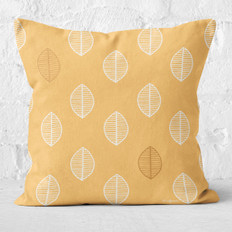 Gold with Leaves Throw Pillow