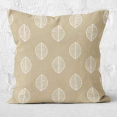 Tan with Leaves Throw Pillow