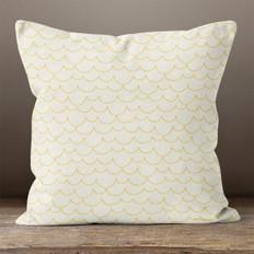 Cream with Gold Scallops Throw Pillow