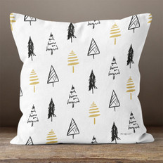 White with Classic Black & Gold Trees Throw Pillow