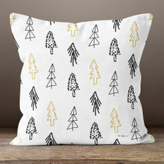 White with Abstract Black & Gold Trees Throw Pillow