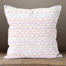 White with Multicolored Scallops Throw Pillow