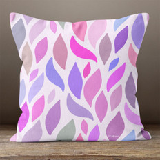 White with Multicolored Leaves Throw Pillow