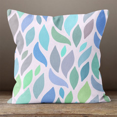 White with Multicolored Blue Leaves Throw Pillow