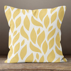 White with Gold Leaves Throw Pillow