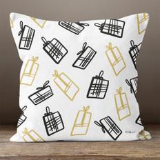White with Black & Gold Gift Boxes Throw Pillow