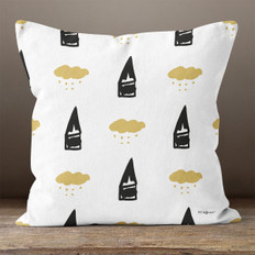 White with Black & Gold Abstract Winter Throw Pillow