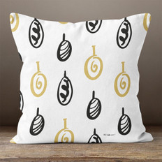 White with Black & Gold Ornaments Throw Pillow