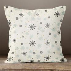 White with Snowflakes Throw Pillow