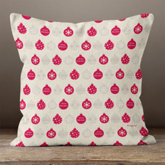 Cream & Red Christmas Ornaments Throw Pillow