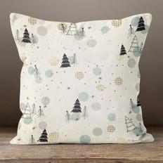 White with Christmas Trees Throw Pillow