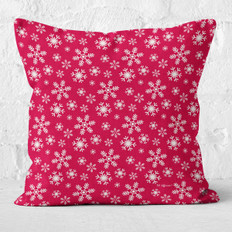 Red with Snowflakes Throw Pillow