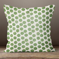 White with Green Dots Throw Pillow