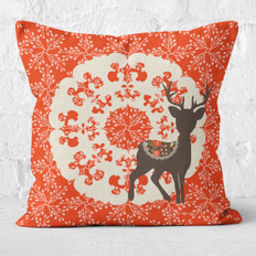 Rudolph and Red Berries Throw Pillow