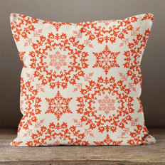 White and Red Lacy Snowflakes Throw Pillow